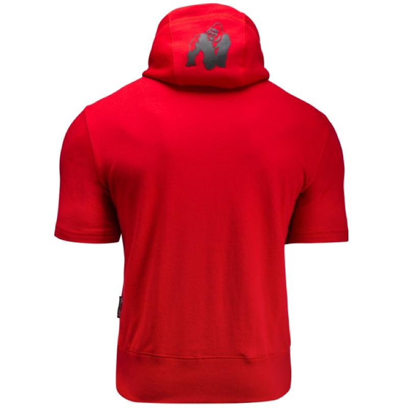 Boston Short Sleeve Hoodie -Red (with blacklogo)