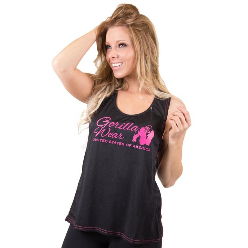 ODESSA CROSS BACK TANK TOP - BLACK/PINK