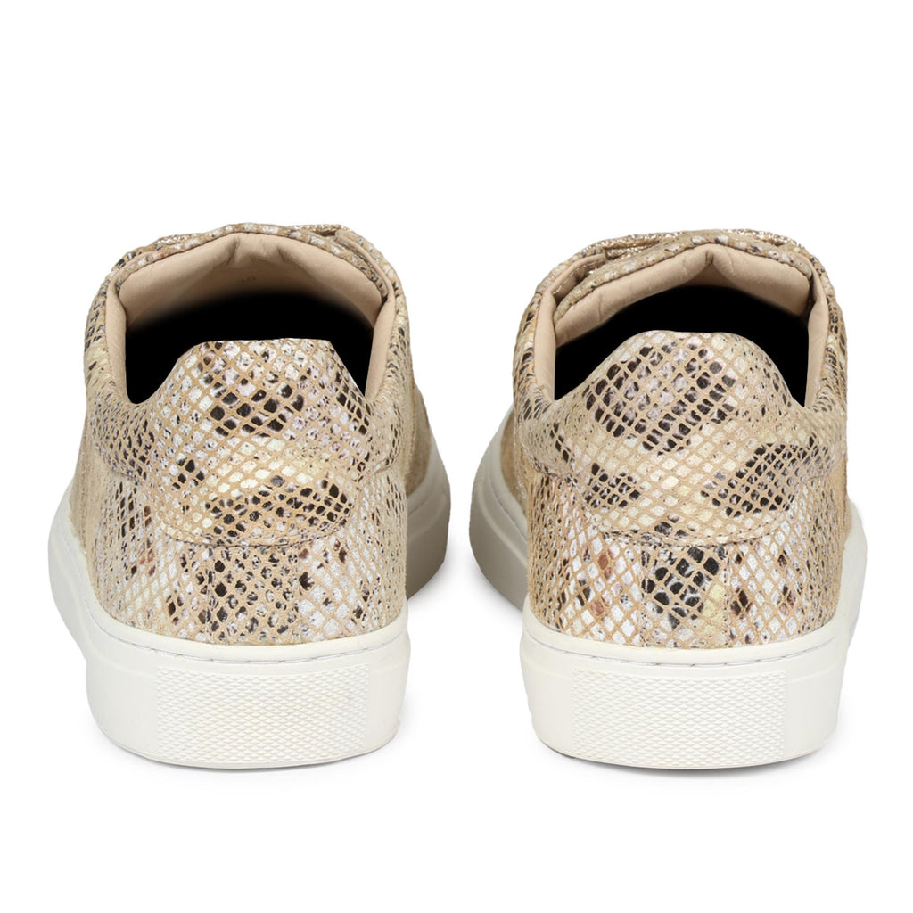 Beige Textured Python Leather Sneakers - SaintG India