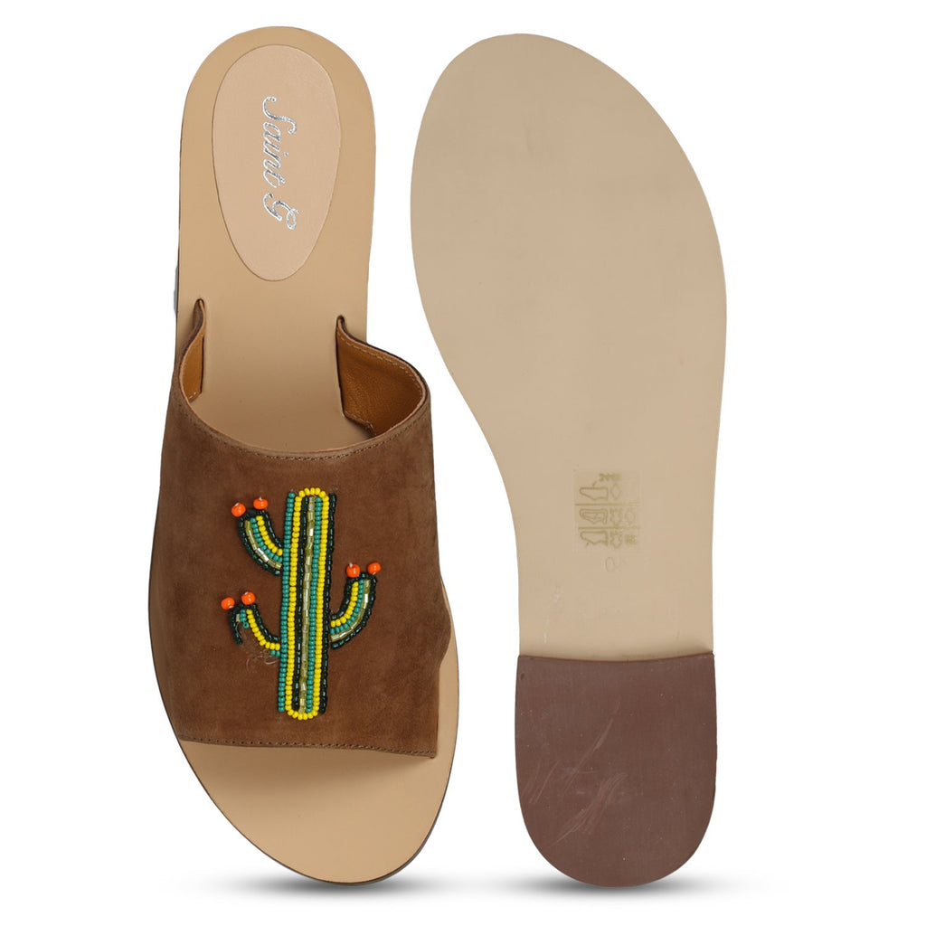 Brown Open Toe Suede Leather Beaded Flats - SaintG India