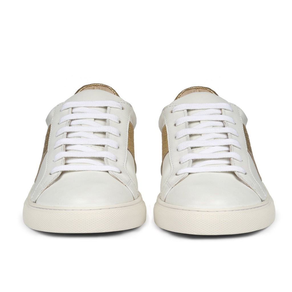 Saint Elen White and Gold Leather Sneakers - SaintG India