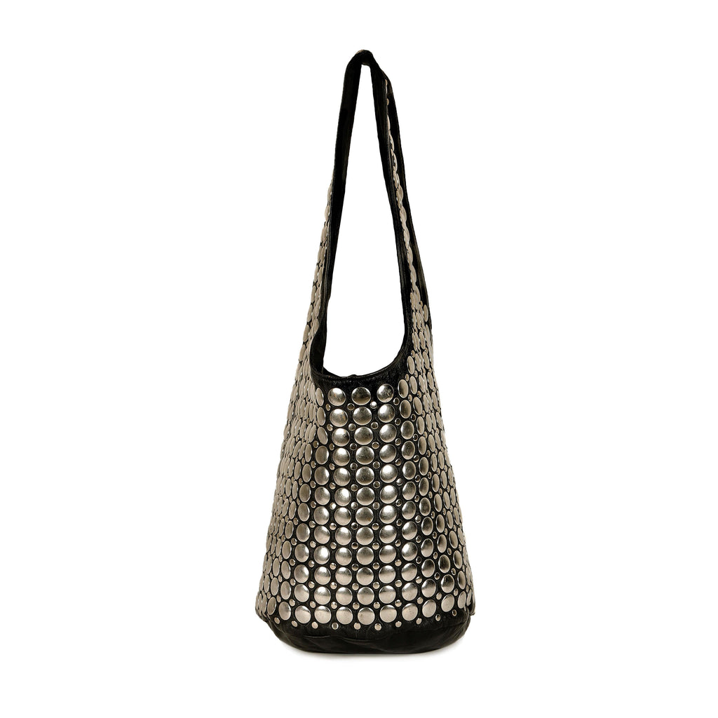 Gold Metal Studded Leather Slouch Bag - SaintG India