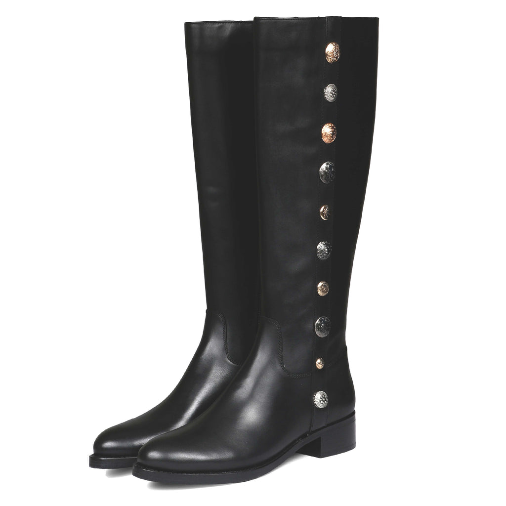 Saint Adriano Black Leather Long Boots - SaintG India