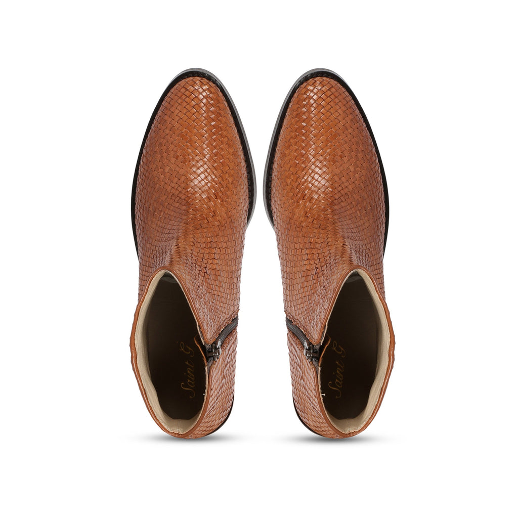 Saint Leone Tan Woven Leather Ankle Boots - SaintG India
