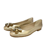 Multi Stone Studded Gold Leather Ballerinas - SaintG India