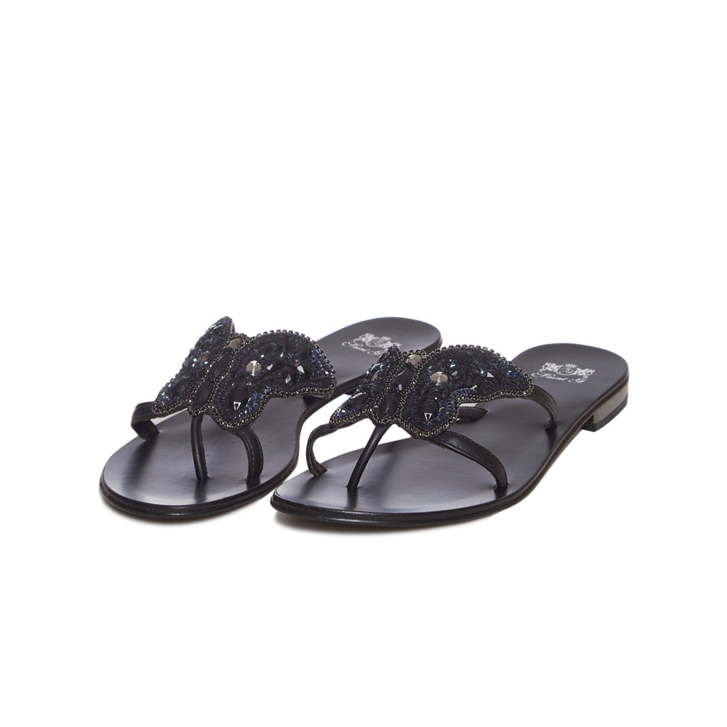 Jeweled Black Leather Flats - SaintG India