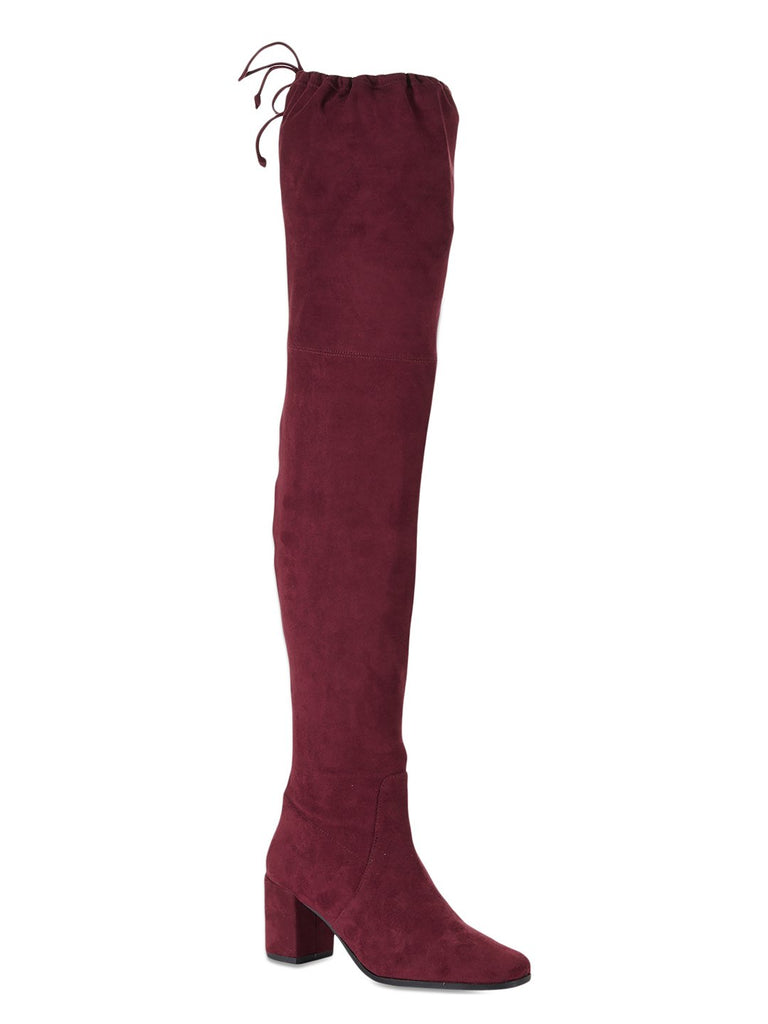 Lace Up Thigh High Red Suede Boots - SaintG India