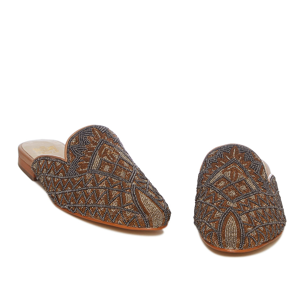 Gold Leather Emboidered Mules - SaintG India