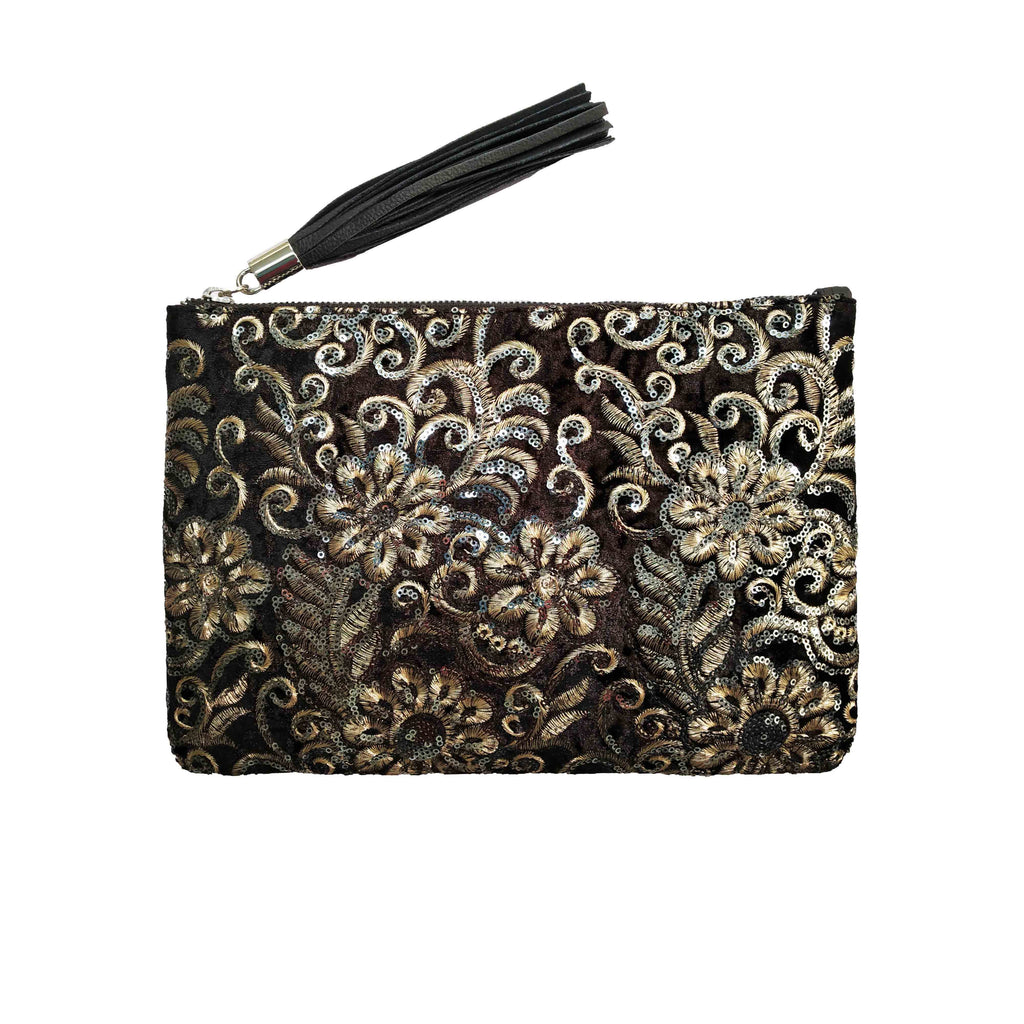 Black Sequins Fabric Clutch - SaintG India
