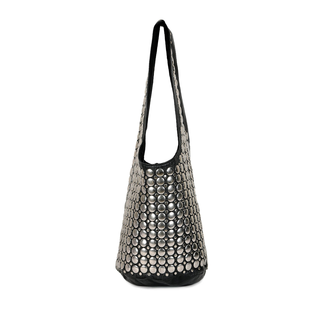 Silver Metal Studded Leather Slouch Bag - SaintG India