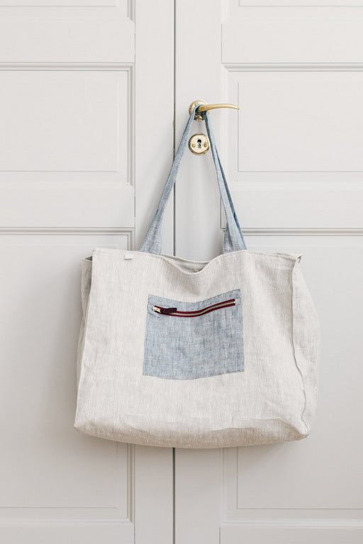 Linen Weekend Bag - Blue & Beige