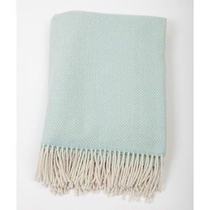 Merino Cashmere Throw - Ice Blue Herringbone