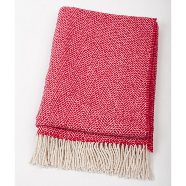 Merino Cashmere Throw - Red Herringbone