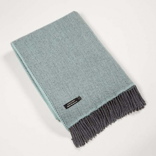Merino Cashmere Throw - Duck Egg Blue Herringbone