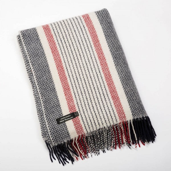 Merino Cashmere Throw - Grey & Red Stripe