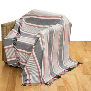 Merino Cashmere Throw - Red, White & Navy Stripe