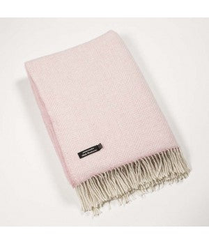 Merino Cashmere Throw - Pink Herringbone