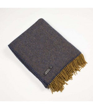 Merino Cashmere Throw - Blue & Gold Herringbone