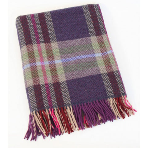 Merino Cashmere Throw - Purple Check