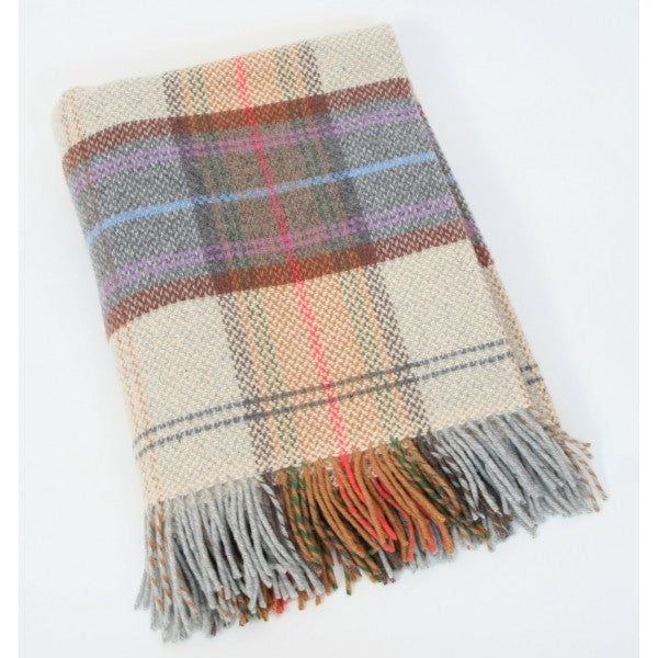 Merino Cashmere Throw - Natural & Pastel Check