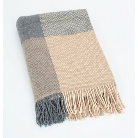 Merino Cashmere Throw - Taupe Large Check