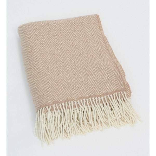 Merino Cashmere Throw - Beige Herringbone