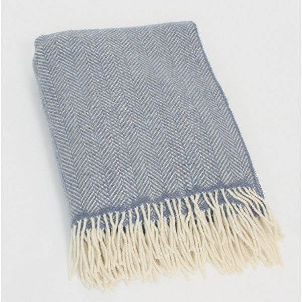 Merino Cashmere Throw - Blue Herringbone