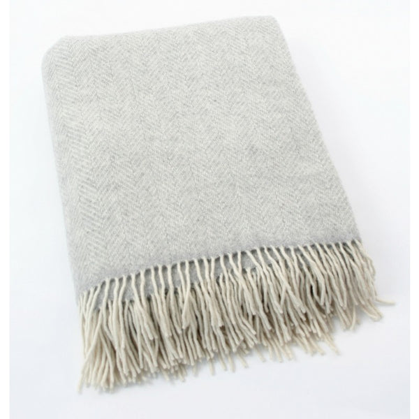 Merino Cashmere Throw - Light Grey Herringbone