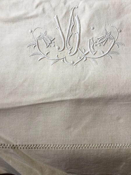 Vintage French Linen Sheet - 'JJ'