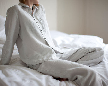 Linen Pyjamas - Dove Grey