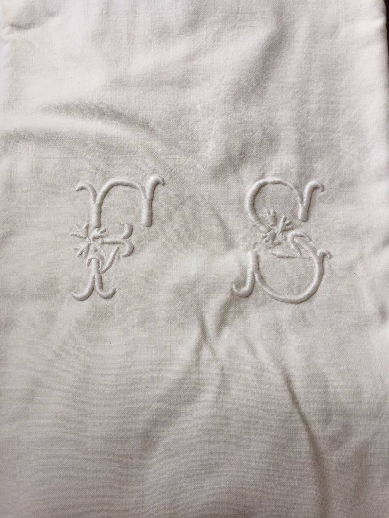 Vintage French Linen Sheet - 'FS'