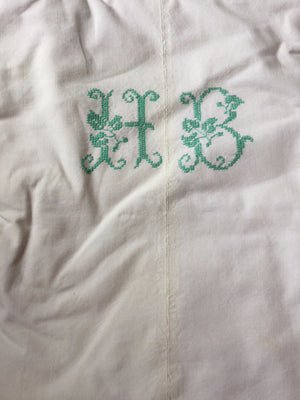 Vintage French Linen Sheet - 'HB'