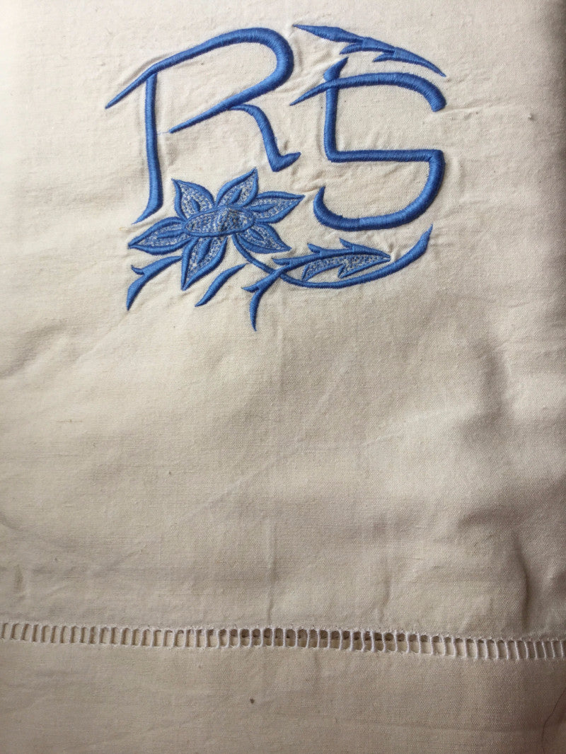 Vintage French Linen Sheet - 'RS' Blue