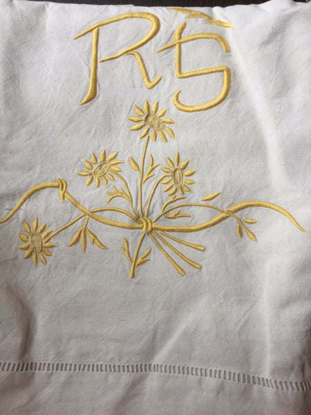 Vintage French Linen Sheet - 'RS' Yellow