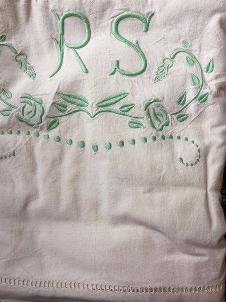 Vintage French Linen Sheet - 'RS' Green