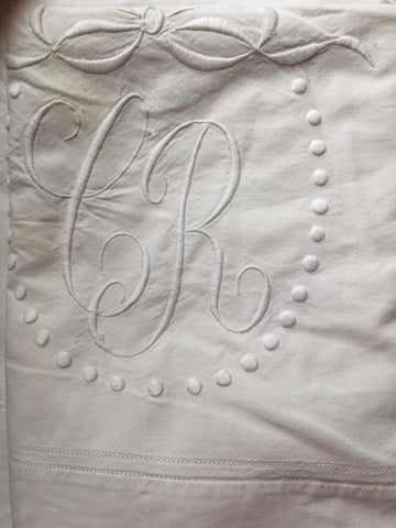 Vintage French Linen Sheet - 'CR'