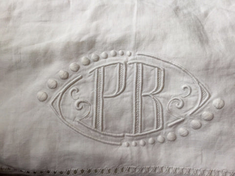 Vintage French Linen Sheet - 'PR'