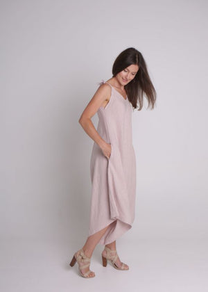 Linen Willow Jumpsuit in Pale Pink