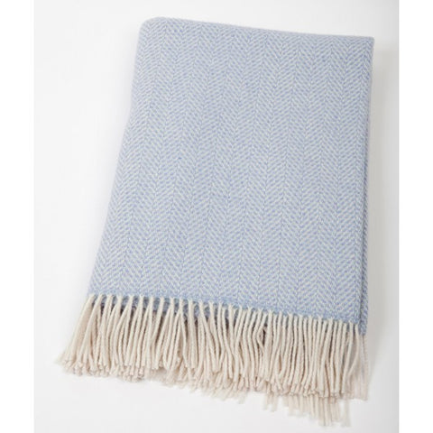 Merino Cashmere Throw - Pale Blue & Mauve Herringbone