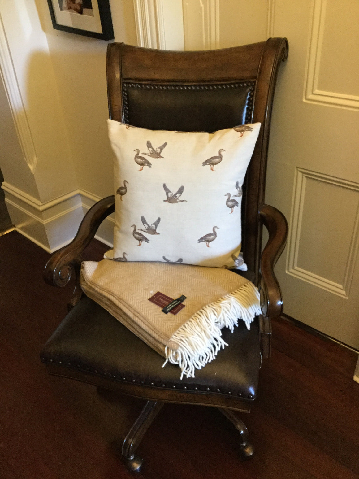 Emily Bond English Linen Geese Cushion