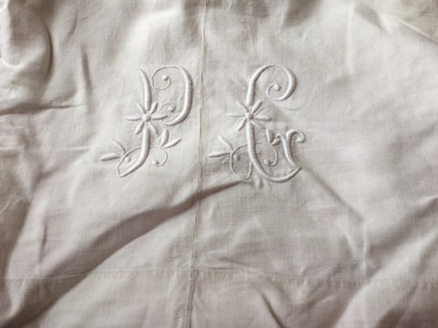 Vintage French Linen Sheet - 'PC'