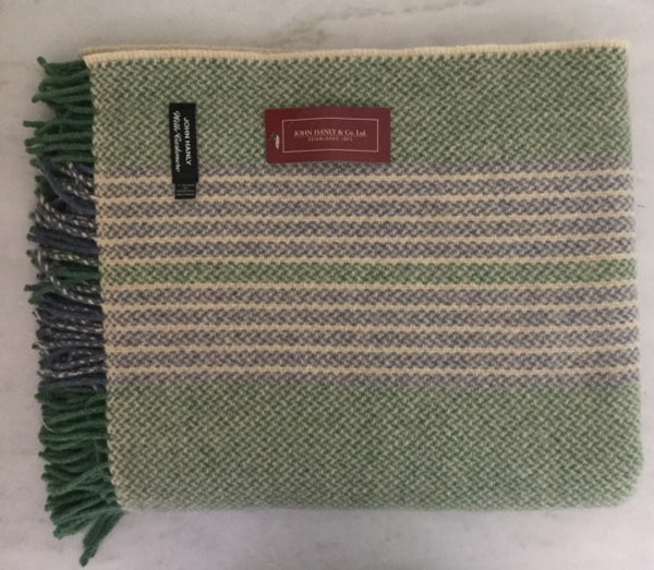 Merino Cashmere Throw - Green Stripe