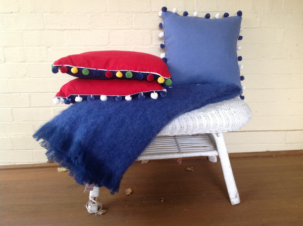 Pom Pom Cushions - Navy & Red