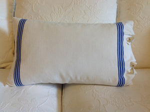 Vintage-Styled French Linen Cushions with Blue Stripe