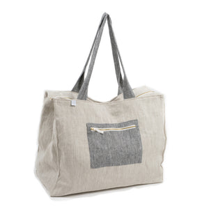 Linen Weekend Bag - Grey & Beige