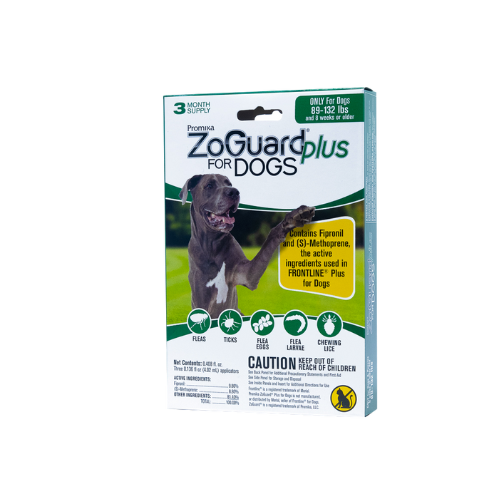 ZoGuard Plus for Dogs - Flea + Tick Prevention - 3 Dose
