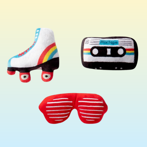 80's Mini Icon Toys for dogs includes a roller skate, mixtape, and retro red sunglasses plush toys.