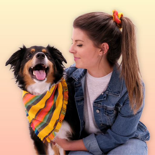 "Bonanza Bandana + Scrunchie Set: The bandana is double fabric sewn in the shape of a triangle for quality and durability so no matter what your dog does it will still be intact.  CARE: Hand wash cold and air dry flat  SIZING: Small (8""-11"") Medium (16""-20"") Large (20""-24"")"