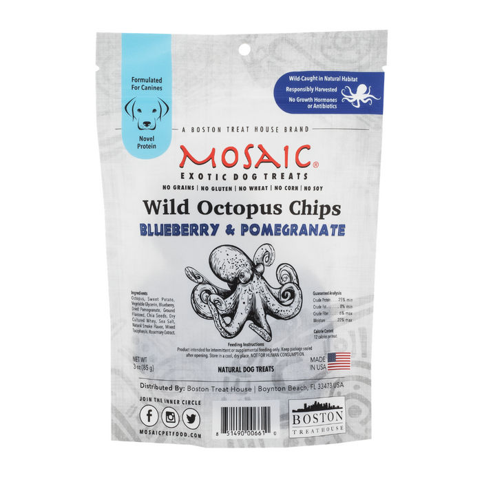 Mosaic Gourmet Dog Treats Octopus Chips - Blueberry & Pomegranate