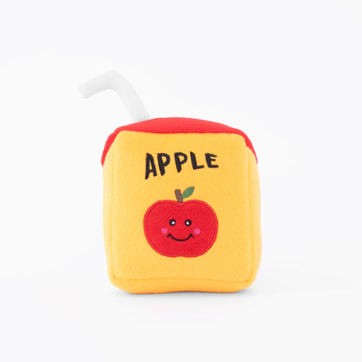 "Apple Juice Box Plush Dog Toy: NomNomz® are your favorite foods, now in plush form for your pups! Feed your dog's inner foodie with these ""delicious"" yummy treats, one bite and they'll be in doggie heaven.  Squeaker: 2 round squeakers Toy size: 7 x 5 x 2.5 in"